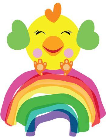 Cute yellow bird on rainbow