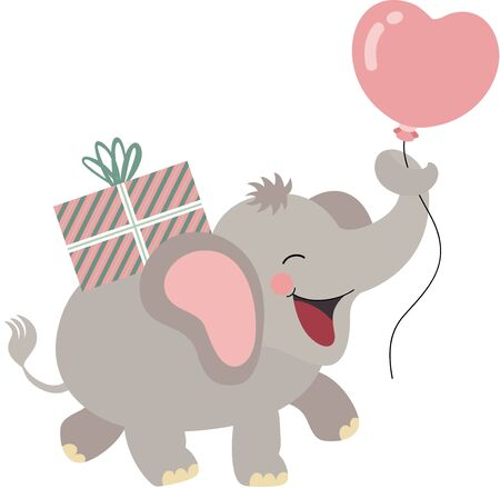 Happy elephant carrying a birthday gift and holding a heart balloon