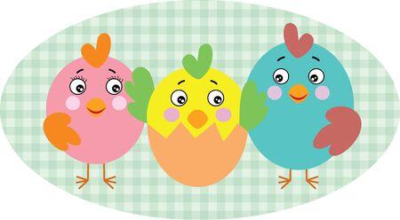 Birds family on cute oval illustration  イラスト・ベクター素材