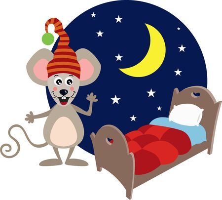 Dreaming good night mouse and bed