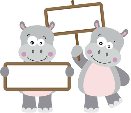 Two cute hippos with empty signboards