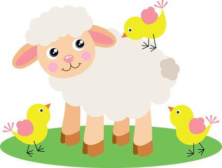 Cute lamb with three yellow birds