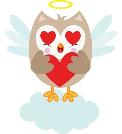 Cute cupid owl holding a red heart Vectores