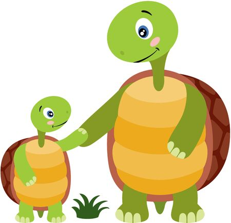 Cute turtle and baby turtle