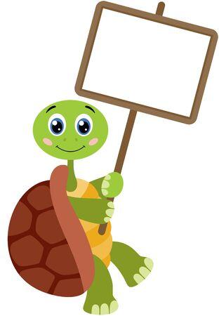 Cute turtle with empty signboard Иллюстрация