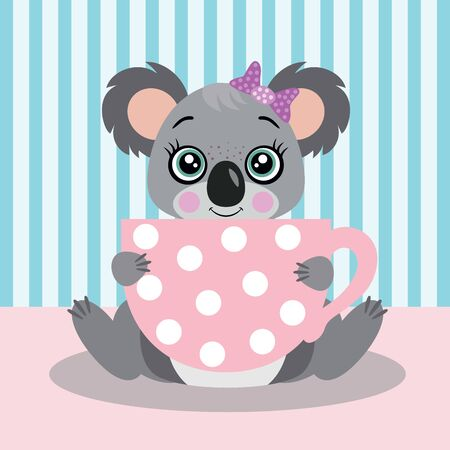 Illustration of cute koala holding a big pink cup tea
