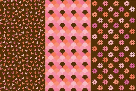 Group of three pattern ornament backgrounds