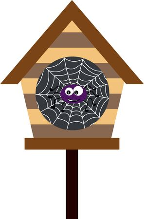 Wooden cage with spider and cobweb