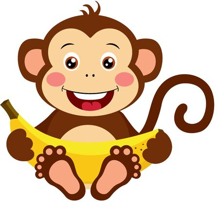 Cute monkey sitting with sweet banana