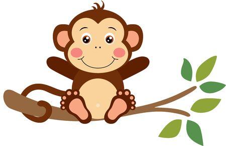 Funny monkey sitting on tree branch