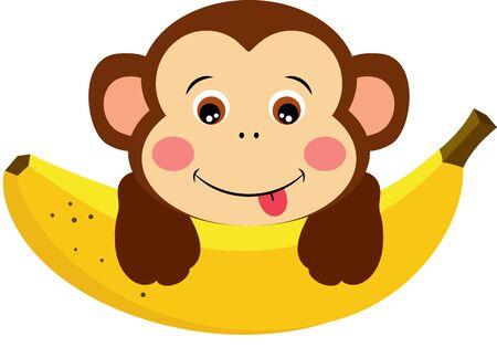 Cute monkey with sweet banana on white Vecteurs