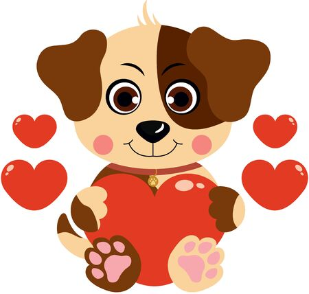 Loving dog with red hearts