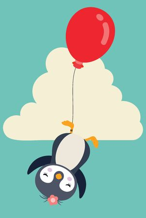 Blue illustration of cute penguin flying with red balloon in sky