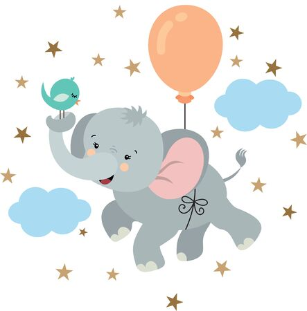 Cute elephant and bird flying with balloon in sky