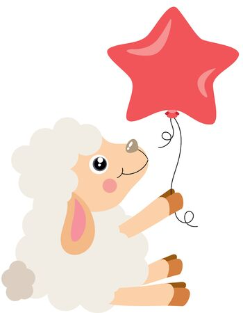 Cute lamb sitting holding a star shaped balloon