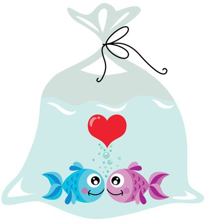 Cute couple of fish in love inside the plastic bag Ilustrace