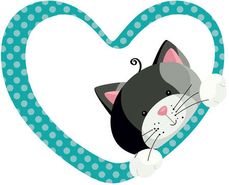 Cute gray cat peeking out of heart frame 向量圖像