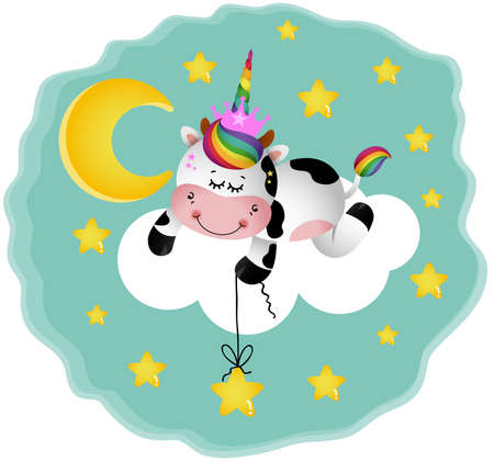 Night illustration with cow with unicorn horn on cloud