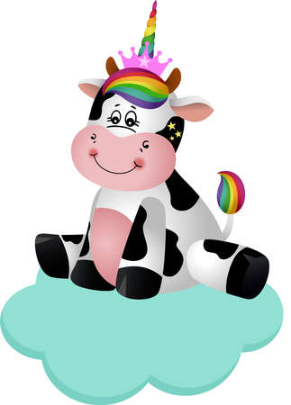 Friendly cow with unicorn horn on cloud