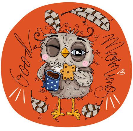 Illustration of owl good morning