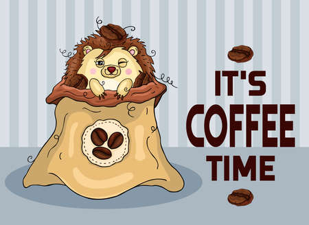 Funny coffee time illustration with hedgehog in coffee bag