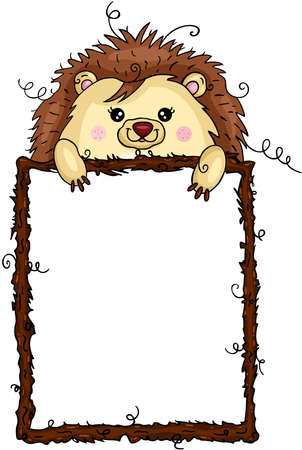 Funny hedgehog with empty wooden frame Иллюстрация
