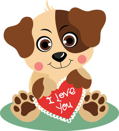 Cute dog holding a love red heart