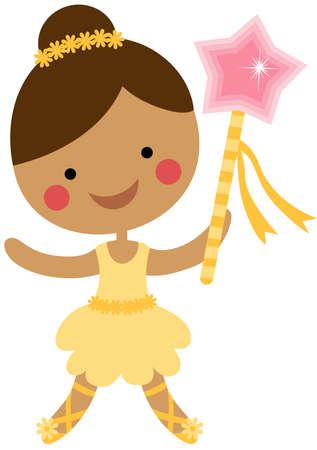 Cute little ballerina dancer with star magic wand