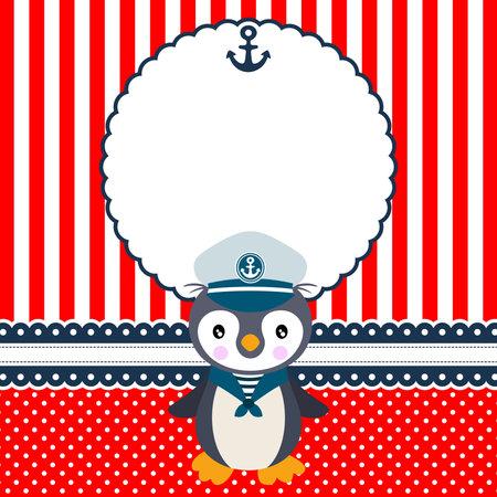 Digital scrapbook layout photo frames with cute sailor penguin