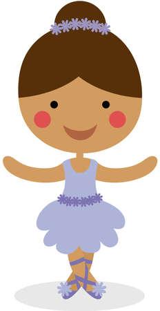 Cute little ballerina dancer isolated