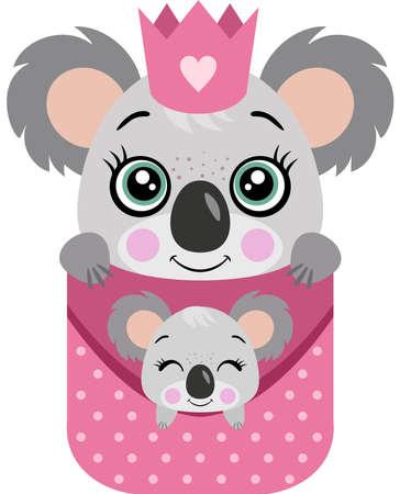Koala mom with her baby peeking in her pocket Иллюстрация