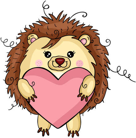Funny hedgehog holding a heart