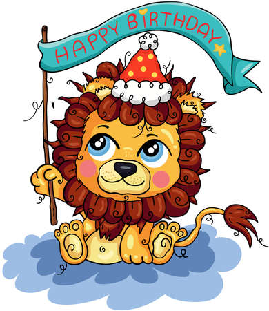 Scalable vectorial representing a Happy birthday funny cute lion, element for design, illustration isolated on white background.
