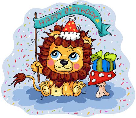 Happy birthday illustration with cute lion