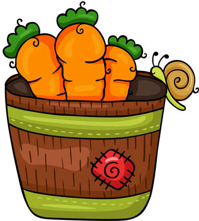 Scalable vectorial representing a brown pot with carrots and snail, element for design, illustration isolated on white background.