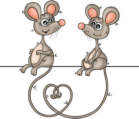 Couple of cute mice isolated on white