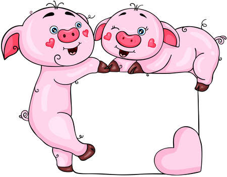 Valentine frame with cute pigs