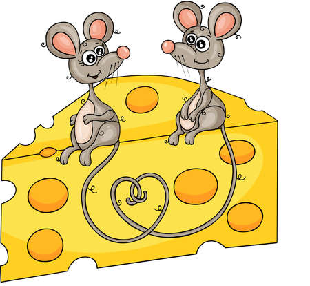 Couple of cute mice sitting on the slice of cheese
