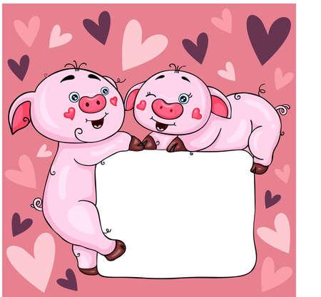 Love digital scrapbook template with cute pigs