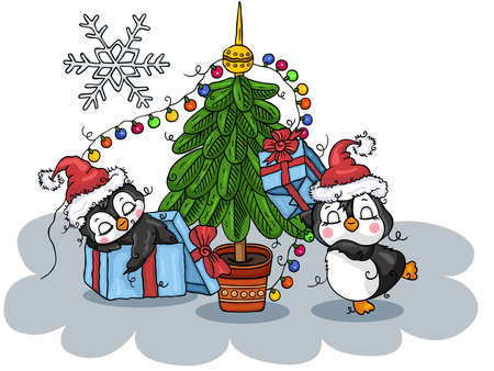 Funny illustration with Christmas penguins
