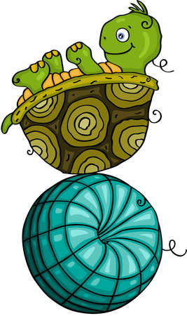 Turtle plays on top of ball Иллюстрация