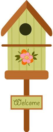 Welcome green wooden bird cage Иллюстрация