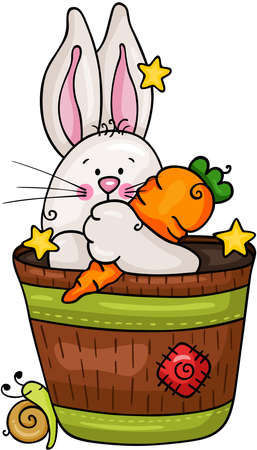 Cute bunny holding a carrot in a spring vase