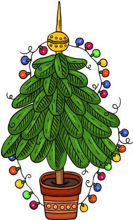 Green pine tree Christmas lights