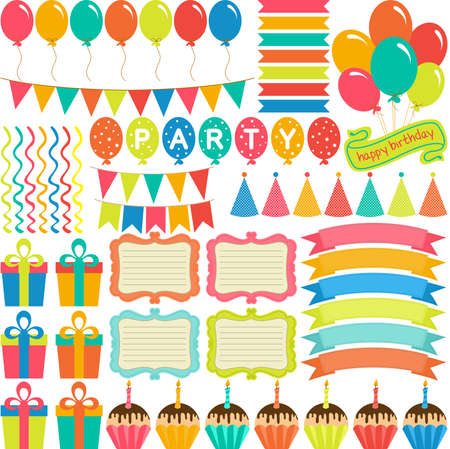 Birthday party package of digital elements