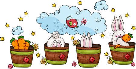 Cute bunny and carrot garden illustration Иллюстрация
