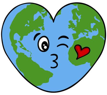 Heart shaped world map face