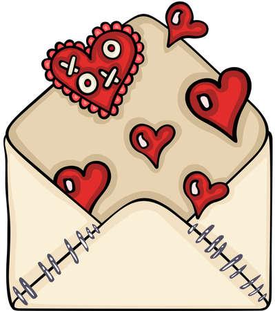 Valentine heart love letter envelope open