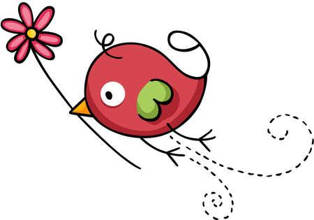 Cute little bird flying holding a flower Иллюстрация