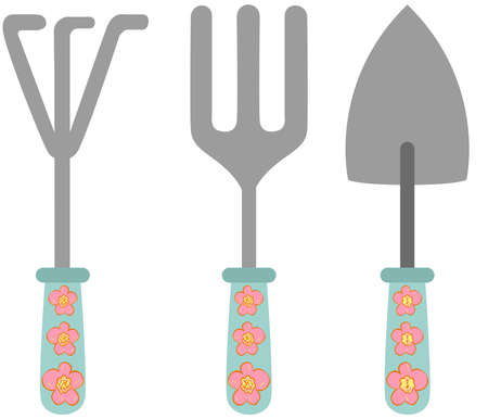 Scalable vectorial representing a spring gardening tools, element for design, illustration isolated on white background.